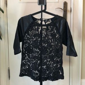 Black lace top with leather sleeves XS